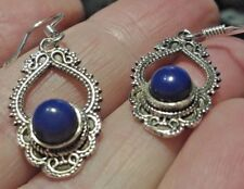 Superb Sterling Silver & Lapis Lazuli Dangley Drop Ear Rings 4.4g