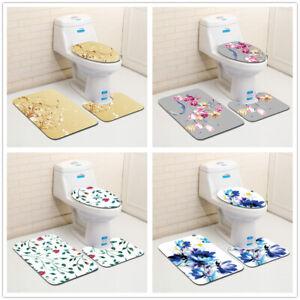 3 Piece Bathroom Rug Set Soft Non Slip Toilet Lid Cover Bath Mat Contour Rug