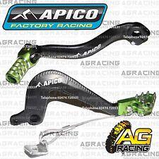 Apico Black Green Rear Brake & Gear Pedal Lever For Kawasaki KX 85 2014 MotoX