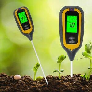 Soil pH Moisture Meter Thermometer Hygrometer Sunlight Monitor W Green Backlight