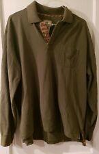 Beretta Green w/ Plaid Trim Long Sleeve Pull Over Cotton Shirt Men's Xxl