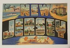 BIG LETTER VINTAGE POSTCARD GREETINGS FROM NEW JERSEY unused