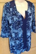 NEW NEXT 8 grey blue floral longline collarless tunic blouse top 3/4 sleeve