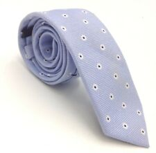 $110 BAR III Mens WHITE BLUE FLORAL COTTON TIE CLASSIC SKINNY NECKTIE 58X2.5