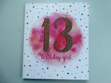 13 13th Birthday Girl Colour Me Happy Gold Flitter Design Good Quality Card