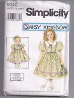 "DAISY KINGDOM 9040 Child's dress & 18"" doll dress Sewing Pattern Sz 7 8 10 12 14"