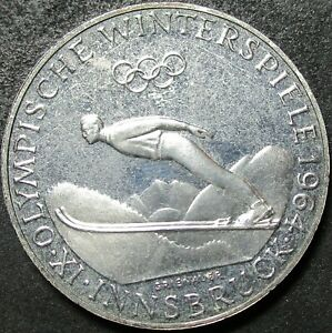 1964 AUSTRIA PROOF OLYMPICS .5787 OUNCE SILVER FIFTY SCHILLING COIN