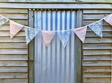2m Handmade Bunting Flags Peach and Lace - Party Wedding Child Bedroom Decor