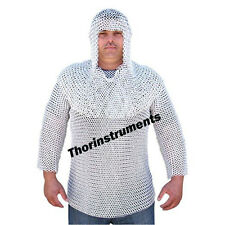 Chain Mail Aluminum Shirt With Hood - Medieval Armor -