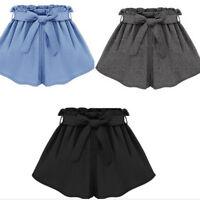 Hot Women Chiffon Summer Bowknot Belt Shorts Loose Casual Short High Waist Pants