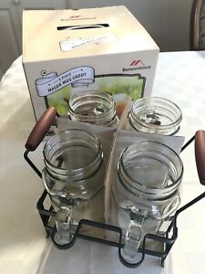 Mason Jar Mugs PICNIC Drinking Glasses Set 4 Glass w/ Caddy Holder Carrier NEW