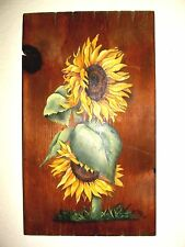 "Hand-Painted Sunflowers On Rustic Board - 19"" x 11 1/4""x 1/2"" - 1950 - Very Nice"
