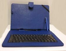 """10.1"""" Case with Micro USB Keyboard Stylus for Android Tablet PU Leather Blue"""