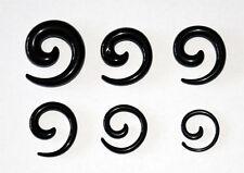 Black Curl Spiral Ear Stretcher Set. 6 Taper Kit Great Value 2, 3, 4, 5, 6 & 8mm