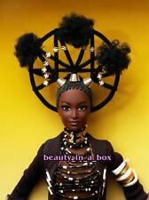 """MOJA Barbie Doll Treasures of Africa Byron Lars African American AA NRFB Dented"""""""