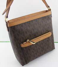 09a2093a6c2e08 NEW AUTHENTIC MICHAEL KORS MORGAN BROWN SIGNATURE MD MESSENGER CROSSBODY  HANDBAG