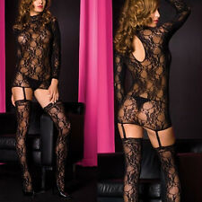 Black Lace Turtle-Neck Mini Dress Babydoll Attached Garter Thigh High Stocking