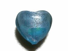 Heart Foil Glass Bead large 30mm aqua blue Beading Jewellery Making crafts
