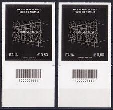 ITALIA Giorgio Armani Codice a Barre DX-SX Anno 2015 MNH**