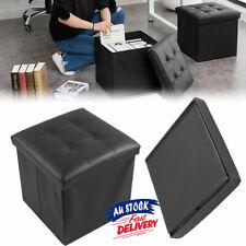Folding Ottoman Storage Cube Footstool Blanket Box Pouf Faux Leather  Stool ACB#