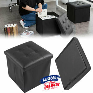 Folding Ottoman Storage Cube Footstool Blanket Box Pouf Faux Leather  Stool ACB#