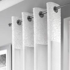 "Crushed Metallic White Voiles Eyelet Ring Top Net Curtains Panel 53 x 90"" 229cm"