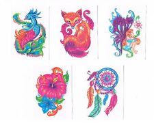 5 x Beautiful Kids Glitter Temporary Tattoos -Dreamcatcher , fox , peacock , etc
