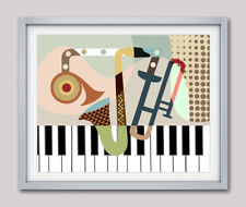 Music Instrument Saxophone Piano Trumpet Abstract Home Decor Poster Painting