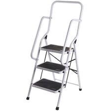 3 Step Ladder Handrail Non Slip Safety Tread Foldable Rail New By Home Discount
