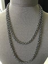 New DAVID YURMAN Sterling Silver Long Cable Rolo Chain Necklace 36in $595 Classy