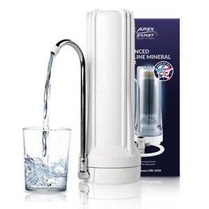 APEX MR-1050 5-Stage Carbon Alkaline pH+ Purifier Countertop Water Filter White