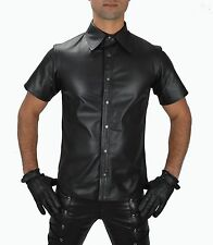 AW-665 Men's Leather Shirt Leather Shirt Soft Nappa Leather Police Uniform. XL
