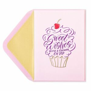PAPYRUS Valentine's Day Card  Handlettered Cupcake with a cherry on top HAPPIEST