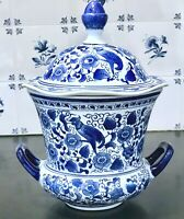 "Chinese Cobalt Blue & White Porcelain 11""  2-Handled & Lidded Ginger Jar"