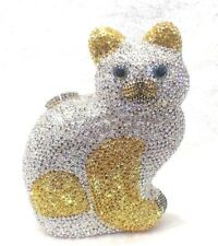 Silver Gold ~Cat Shaped~Handmade Austrian Crystal Evening Cocktail Bag