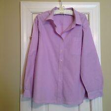 Nice 100% Cotton Lavender Check  Long Sleeve Blouse - Size XXL - VGUC