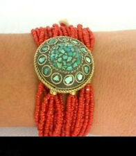 Genuine Turquoise Coral Bead Bracelet