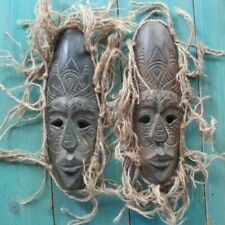 2 AFRICAN WOOD MASKS HAND CARVED HOME DECOR TRIBAL ART