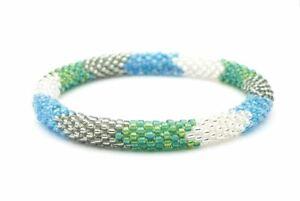 "Sashka Co reg 6-8"" SEA GLASS Beaded BRACELET blue clear green silver Nepal"