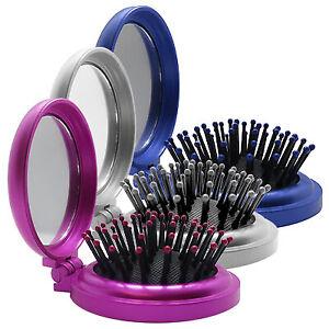 FOLDING ROUND COMPACT HANDBAG WORK SMALL HAIR BRUSH WITH MIRROR GREAT GIFT IDEA