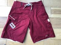 Mens ANIMAL Size S W30 Surf Board Shorts Dark Red Swimming Surfing with Wax Comb