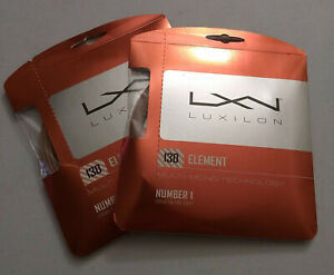 2 sets Luxilon Element 130 polyester tennis string, 16 gauge, new & unopened