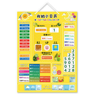 Kids Calendar Magnetic Board Educational Toy Wall Hanging Learning Tool