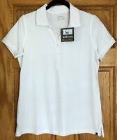 NWT Eddie Bauer  White Short Sleeve Polo Shirt Top Size M