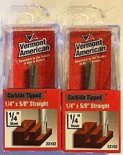"Vermont American 23102 1/4"" x 5/8"" Straight-Carbide Router Bit 1/4"" Shank-2Pcs."