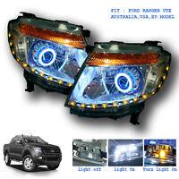 PAIR HEAD LIGHT LAMP LED PROJECTOR FOR FORD RANGER UTE T6 2012 - 2015 WILDTRAK