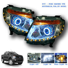 PAIR HEAD LIGHT LAMP LED PROJECTOR FOR FORD RANGER UTE T6 2012 - 2015 WILDTRAK