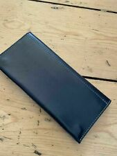 Authentic Ally Capellino Womens Evie Long Leather Wallet Snap Closure NAVY