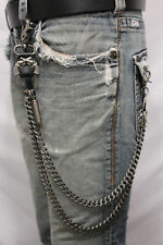 Men Wallet Chain Pewter Black Metal Long Jeans Keychain Biker Bullet Guns Links