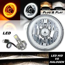 "5-3/4"" Switchback White DRL Halo Amber Turn Signal Angel Eye LED Headlight EACH"